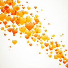 Vector Illustration Of Yellow And Orange Heart Balloons