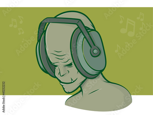 Zombie Headphones Wallpaper Mural