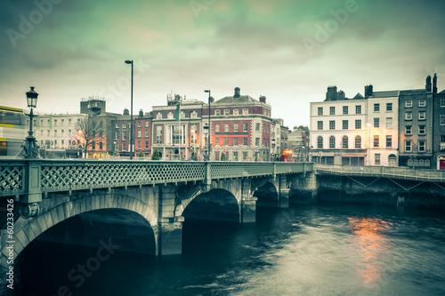 Photo  Vintage style view of Dublin Ireland Grattan Bridge