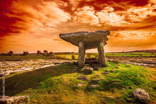 Door stickers Orange Glow Ancient Poulnabrone Dolmen, The Burren, County Clare, Ireland
