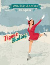 Figure Skater Girl Vintage Pos...