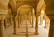 Columns In Amber Fort Near Jaipur