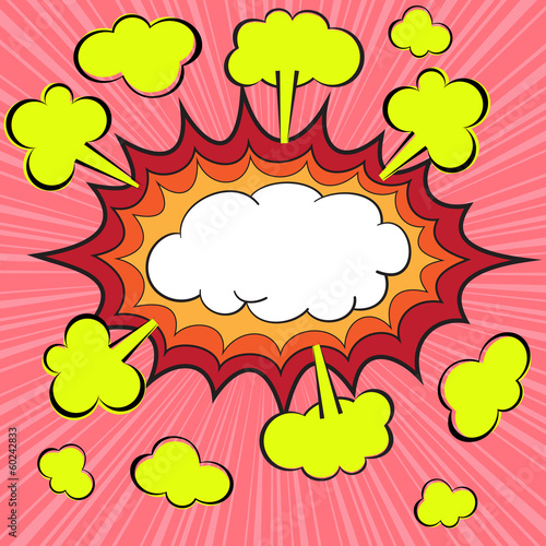 Boom blank comic speech bubble, vector illustration
