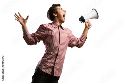 Valokuvatapetti man yells into a megaphone