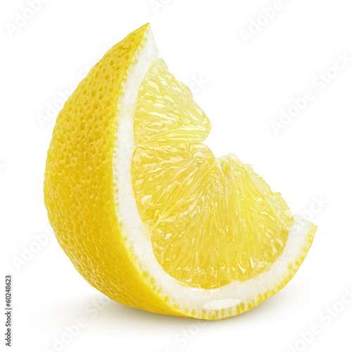 Slice of lemon fruit isolated on white background