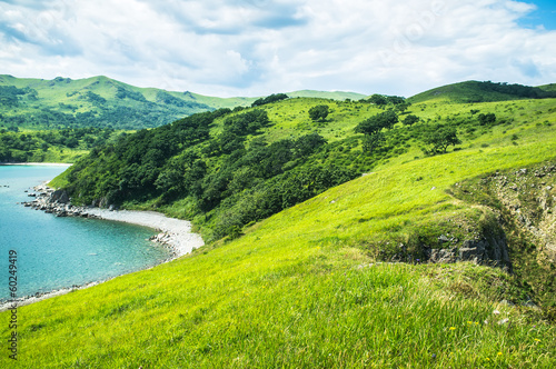 landscape with hills, mountains, trees, grass on the beach.