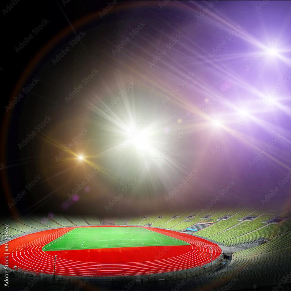 Láminas  Estadio de fútbol con las luces brillantes