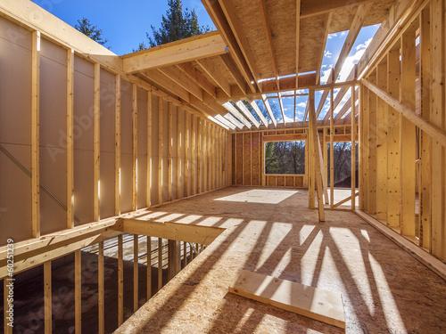 Fotografía  New framing construction of a  house