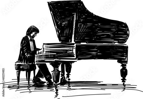 Fotografie, Obraz  pianist