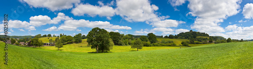 Spoed Foto op Canvas Bleke violet Idyllic rural landscape, Cotswolds UK