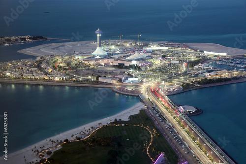 Poster Abou Dabi Marina Mall at dusk. Abu Dhabi, United Arab Emirates