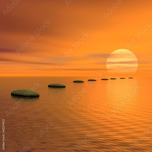 Photo Stands Melon Steps to the sun - 3D render