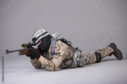 Obraz na plátně Military man with sniper rifle