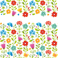 Bright floral seamless border with butterfly, dragonfly, hearts.