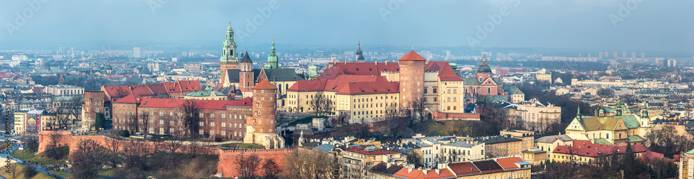 Fototapety, obrazy: Cracow skyline with aerial view of historic royal Wawel Castle a