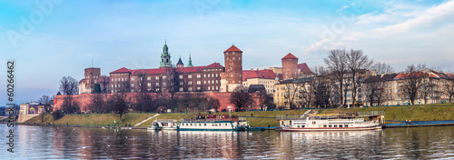 Fototapeta Cracow skyline with aerial view of historic royal Wawel Castle a obraz