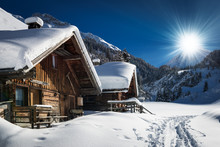 Winter Ski Chalet And Cabin In...