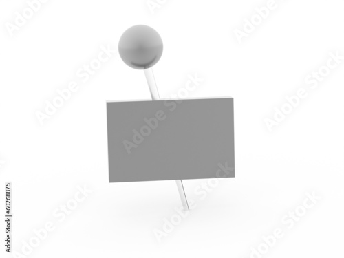 Fotografie, Obraz  Silver banner pierced with push pin rendered