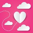 Leinwandbild Motiv Paper heart Valentines day card. Way to heart