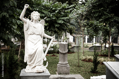 Foto op Plexiglas Kiev Statue of angel in old cemetery Museum Prasasti