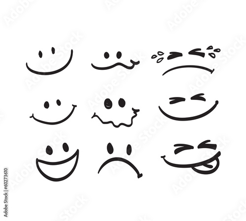 Cuadros en Lienzo Set of Hand draw cartoon emotion vector