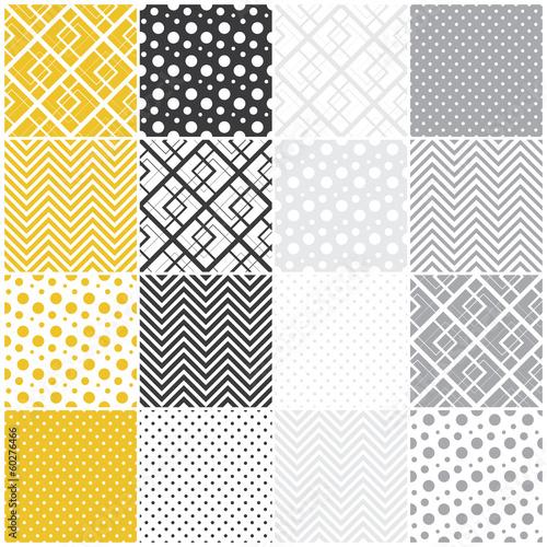 Papiers peints Artificiel geometric seamless patterns: squares, polka dots, chevron