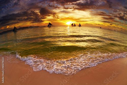 Staande foto Oceanië Tropical beach at sunset
