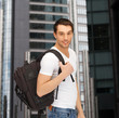 travelling student with backpack outdoor