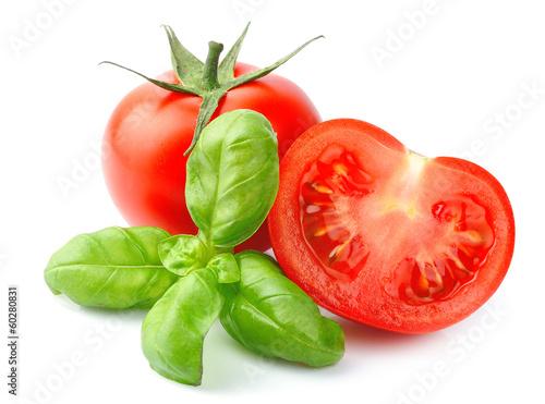 Fototapeta Tomatoes and basil leaves obraz