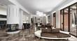Luxury light interior with fireplace