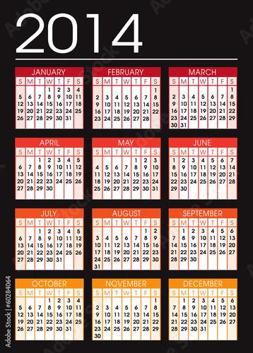 Fényképezés  black and orange calendar 2014