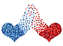 Red And Blue Heart Connected