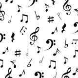 Piękny muzyczny tło z notatkami wektorowymi - 60289476