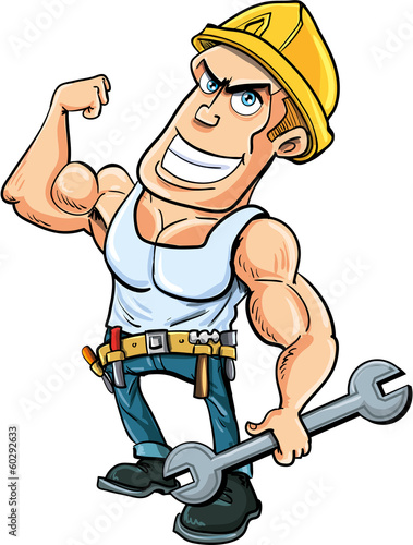 Cartoon handyman flexing his muscles