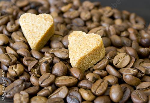 Fotografie, Obraz  coffee beans, sugar hearts