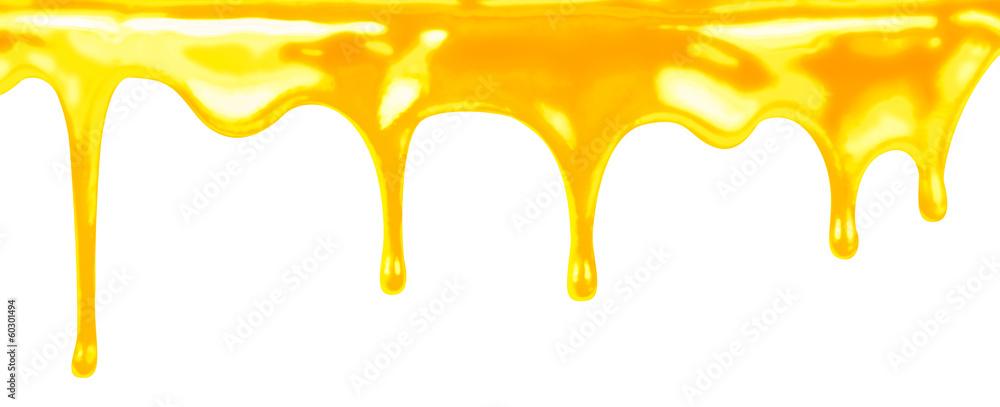 Fototapety, obrazy: honey dripping on white background