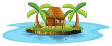 A Small Nipa Hut In An Island
