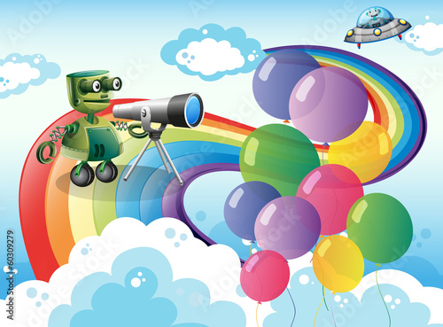 Foto op Canvas Schepselen Robots in the sky with a rainbow and balloons