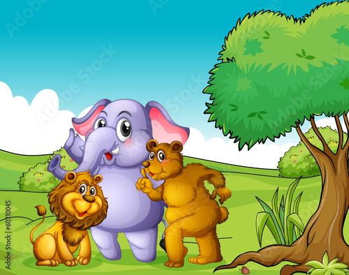 Canvas Prints Bears An elephant, a lion and a bear near the tree