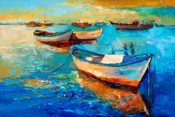 Fototapeta Boats on sunset