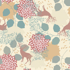 Fototapeta Liście Seamless Pattern with Deers and Leaves