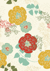 Panel SzklanySeamless Pattern with Flowers