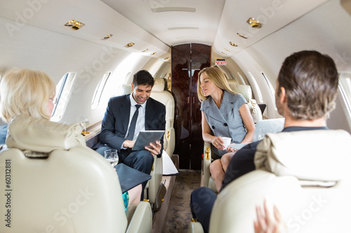 Fotografía Business People Working In Private Jet