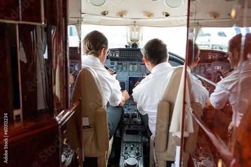 Fotografie, Tablou  Pilots Operating Controls Of Private Jet