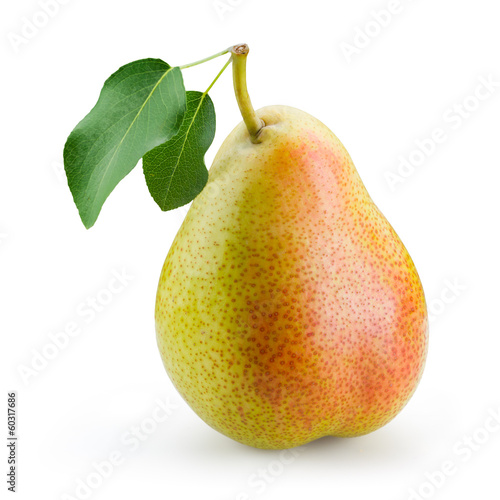 Vászonkép Pear with leaf isolated on white background