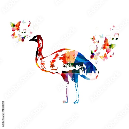 Poster Geometrische dieren Colorful vector emu background