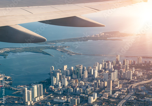 Miami skyline from the airplane