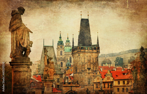 Printed kitchen splashbacks Prague Prague, Charles bridge, retro style picture
