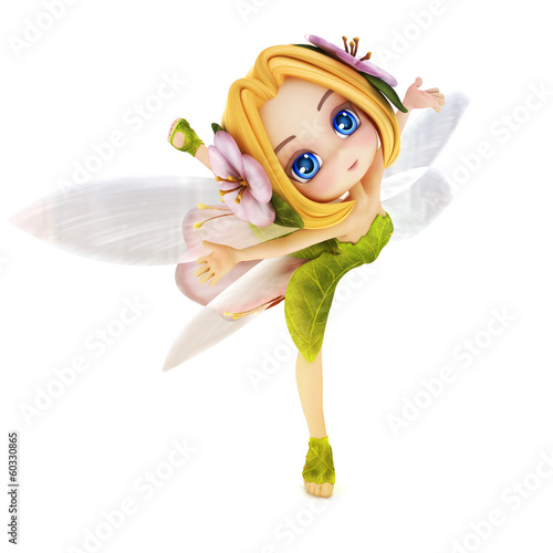 Cute toon ballerina fairy on a white background
