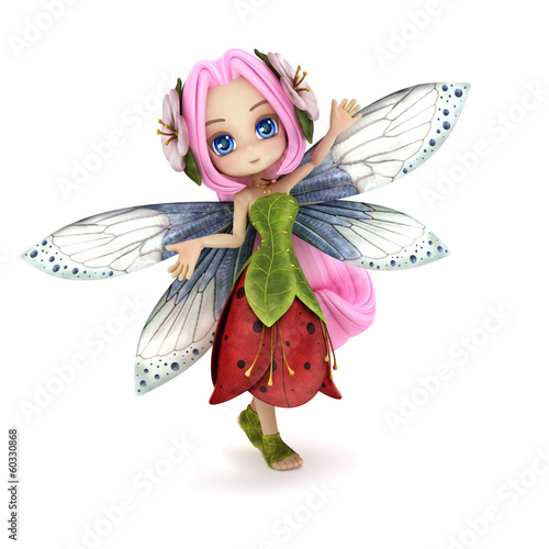 Fotografie, Tablou  Cute toon fairy posing on a white background